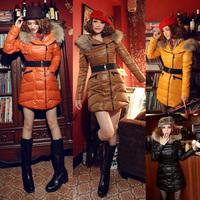 New Arrival Womens Gloosy Down Coat Puffy Outdoor Parka Warm Fur Elastic Belt