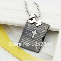 New arrived Personality creative lovers necklace with Bible can be engraved titanium steel pendants