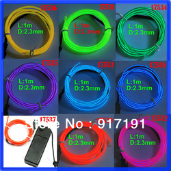 Free Shipping 5pcs/lot 3ft Flexible Neon Light Glow EL Wire Rope Tube Car Party Bar 1M+Driver Wholesale(China (Mainland))