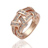 18KGP R061 Rose Glod Weave 18K Gold Plated Ring Health Jewelry Nickel Free K Golden Plating Platinum Austrian Crystal