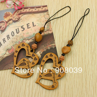 Promotion Restore ancient ways double heart  hang adorn  Lovely Mobile Chain pendant  adorn Creative Jewelry gift  50pcs/lot