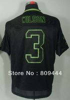 Free Shipping,#3 Russell Wilson 2012 Men's Lights Out Black Elite Football Jersey,Sports jerseys,Embroidery logo,size M-3XL