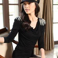 New arrival modal basic shirt spring and autumn long-sleeve T-shirt 100% cotton epaulette plus size female medium-long top