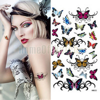 10 Sheets Coloful Butterflies Temporary Body Art Waterproof Tattoo Sticker 10 pcs/lot 10271
