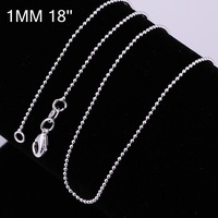 10 pcs/lot Free shipping 1.0MM bead chain necklace 925 silver plated necklace multi-choice 18'' C004