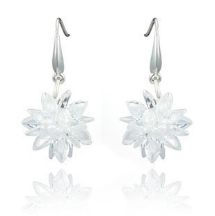 Free shipping fashion ice flowers 925 sterling silver & AAA zircon & platinum plated ladies`drop earrings wedding gift