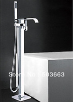 Chrome Bathroom Single Handle Floor Mounted Bathtub Faucet Tap Shower Mixer Set A-9004