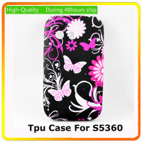 Black Cute Butterfly Skin Soft TPU Rubber Silicone Cover Case For Samsung Galaxy Y S5360,10pcs/lot