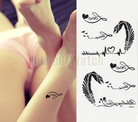 10 Sheets Artistic Love and Feather Temporary Body Art Waterproof Tattoo Sticker 10 pcs/lot 10282