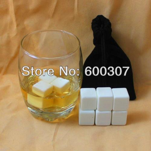 9pcs ceramic whisky ice cube stones with free bag