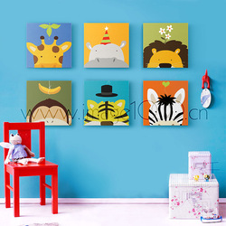 Free shipping 6pcs/lot,Cartoon animals like child real canvas picture frame decorative painting,new year gift(China (Mainland))