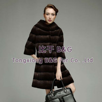 BG23564 Fashion 2013 Genuine Sheared Rex Rabbit Fur Clothes Women Russian Style Winter Elegant Coat OEM Wholesale/Retail