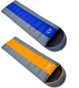 2015 NEW ! Envelope (190+25)*75CM Cool-Weather Outdoor Hiking and Camping sleeping bag for sleep & Blue, orange