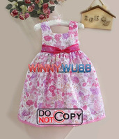 Baby Girl`s Flower Printed One-piece Summer Chiffon Dress with Bowknot Little Princess Summer Dress 5pcs/lot