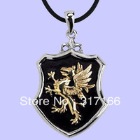 free shipping black enamel griffin sheild pendant necklace