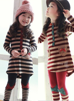 hot sale spring autumn female child stripe clothing girls outfit two piece set top& pants set pink/grey 100-140cm free shipping