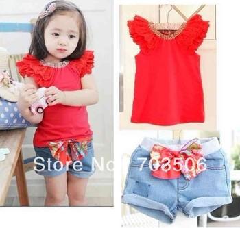 2013 Hot sale summer girls toddler clothing set 2pcs kids red short sleeve t shirts+bow shorts baby suit set