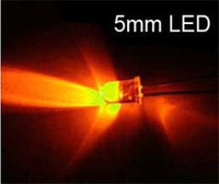 Free  shipping , 200pcs  5MM the white hair  light orange LED orange light-emitting tube ultra bright