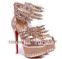 sexy hotsale super quality best design pink spike high heel fashion pumps party high heels