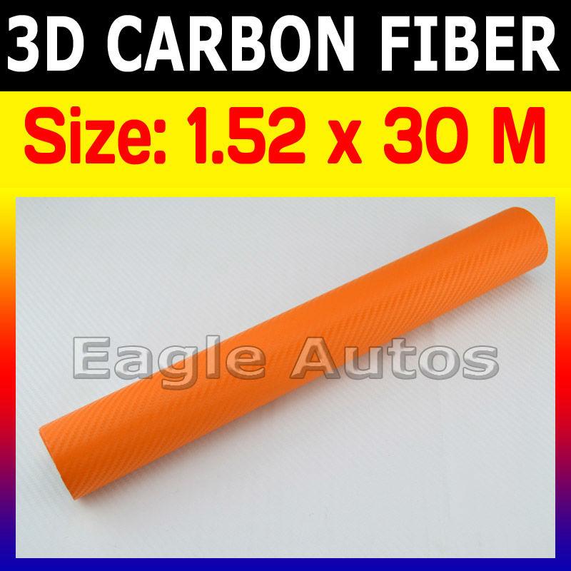 3D carbon orange film / carbon fiber car wrap air back / Protect Your Car / Be Original / Size: 98 x 4.9 Feet(China (Mainland))