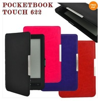 Wholesale 50pcs hard back cover leather case for pocketbook touch 622 ereader