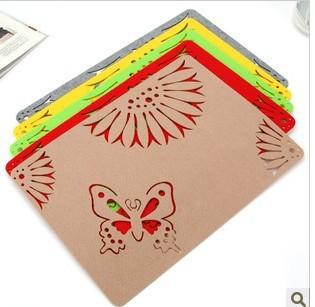 Colorful square felt cup mat insulation pot holder decoration pad