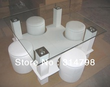 Modern Design Coffee Table Made of MDF Attached Leather,  Available In Different Size and Colors, Glass Coffee Table(China (Mainland))