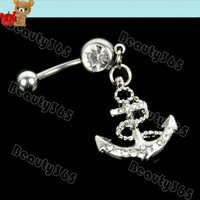 Free Shipping Beautiful Crystal Button Barbell Bar Belly Body Piercing Dangle Anchor Navel Belly  Button Ring 6786