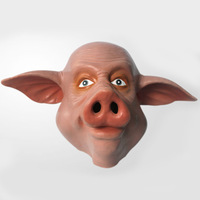 Hot selling latex adult size full head cute pig animal halloween mask for cosplay and costume