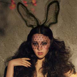 Lady gaga lace rabbit ears veil lace mask rabbit ears hair bands Christmas halloween(China (Mainland))