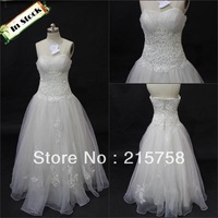 On Sale Lowest Price A-line Floor Length Organza Ivory Bridal Gown Wedding Dress With Appliques In Stock