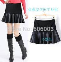 Leather maternity short skirt maternity bust skirt autumn and winter maternity short skirt plus size maternity sun dress