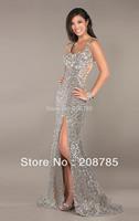 Fold Free shipping Strapless Mermaid Celebrity Dresses Rhinestone Swarovski crystals Open back  Chiffon