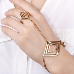 New style fashion punk rock gold rhombus ring bracelet for women S5424(China (Mainland))