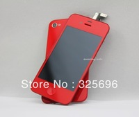 Red Color For iphone 4G LCD Screen Digitizer Touch Screen Assembly + Back Cover Home Button for iPhone 4 4G GSM