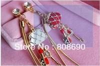Min&Mix order $15, 2 PCS Bling Lipstick bag key Dust Stopper Earphone Cap Headphone Jack Charm for iPhone 4 4S 5 HTC Samsung