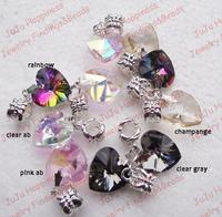 Free Shipping!Bulk Wholesale 50Pcs/Lot Dangle Crystal Glass Heart Charm Beads 804