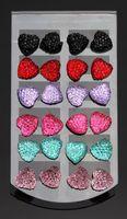 Fashion Women Resin Colorful Rhinestone Cute Heart Shaped Stud Earrings Hot Sale 8 Sets 60102