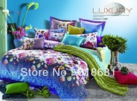 New Listing Gorgeous Reactive Printing Bedding Set Fabric Duvet Doona Cover Set Household Textile Queen Full 4piece-NO FILLER