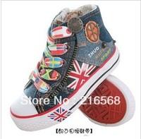 Boy girl Canvas Shoes kids Cute Leisure Shoes High Tie Zipper Sports Shoes Sneakers Board Shoe Rubber Bottom Flag Shoes LJ067