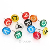 Fashion Women Jewelry 8Sets Resin Mixed Colorful Rhinestone Cute Letter Shaped Stud Earrings 60105 free Shipping