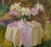 Free shipping Russia's  style hand-painted artwork The flowers Still life oil-paintings on canvas JW-095