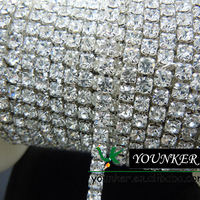 Free Shipping,33Yards/roll,SS16,CLOSE,Shiny crystal rhinestone chain trimming in Silver Setting