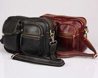 free shipping high quality handmade100%genuine leather vintage waist pack cowhide messenger bag classic black brown multi-pocket