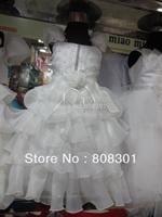 Wholesale children's wedding dress --- sleeveless suspenders white dress --- super good quality kids dress