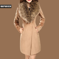 Women's Clothing Autumn and Winter Coat Female Woolen Outerwear Long Design Slim Large Fur Collar Wool Coat