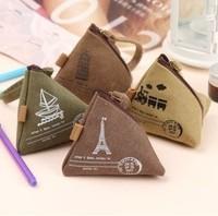 Fashion portable mini canvas coin purse with the unique design of the triangle free shipping