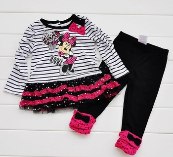 Free shipping 5sets 2013 new design suit Long-sleeve t-shirt+pants Stripe Cartoon Girl suit t shirt+trousers