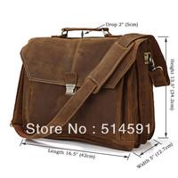 Handmade Crazy Horse Leather Man Bag Commercial Handbag Cowhide Vintage Laptop Bag Man Briefcase