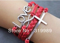 Free Shipping 12pcs/lot Fashion Braided Red Rope letters LOVE  Infinity Bracelet Charm Trendy Girls'  Cross Jewelry B00-480